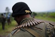 A soldier from the Armed Forces of the Democratic Republic of the Congo (FARDC) stands guard on the road between Goma and Rutshuru. UN troops in the Democratic Republic of Congo have stationed a dozen tanks around Goma city in the east where rebels have recently seized territory, said an AFP photographer on the scene