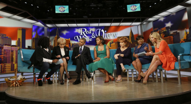 "President Barack Obama and first lady Michelle Obama appear on the ABC Television show ""The View"" in New York, Monday, Sept. 24, 2012, From left are, Whoopi Goldberg, Barbara Walters, the president, the first lady, Joy Behar, Sherri Shepherd and Elisabeth Hasselbeck. (AP Photo/Pablo Martinez Monsivais)"