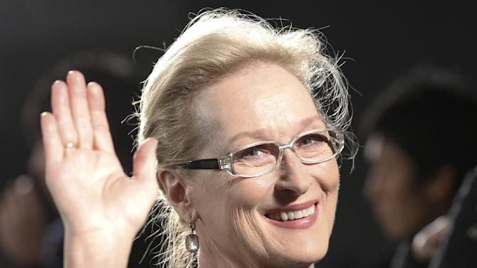 "FILE - In this Wednesday, March 4, 2015 file photo, Meryl Streep waves to photographers during the Japan premiere of ""Into the Woods"" in Tokyo.  Historical drama ""Suffragette,"" which stars Carey Mulligan and Meryl Streep as votes-for-women campaigners, will open this year's London Film Festival, it was reported on Wednesday, June 3, 2015. Organizers say the film's European premiere will kick off the 59th London Film Festival Oct. 7. (AP Photo/Shizuo Kambayashi, File)"
