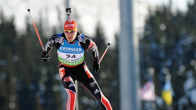 German Arnd Peiffer races to place first in the men's 10 km sprint