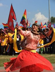 A Nepalese transgender performer dances during the opening ceremony of the first South Asia Lesbian, Gay, Bisexual and Transgender Sports Festival in Kathmandu on Friday