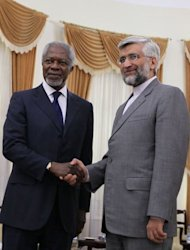 United Nations and Arab League envoy for the crisis in Syria, Kofi Annan (L) shakes hands with Iran&#39;s chief nuclear negotiator Saeed Jalili in Tehran. Kofi Annan warned on Tuesday that Syria&#39;s deadly conflict could spread across the region as he held talks in Iran and Iraq aimed at shoring up support for his tattered peace plan