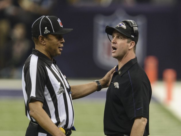 Feb 3, 2013; New Orleans, LA, USA; Baltimore Ravens head coach John Harbaugh talks with referee Ron Winter (14)l in Super Bowl XLVII at the Mercedes-Benz Superdome. (Jack Gruber-USA TODAY Sports)