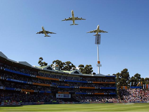 South African jets fly over the stadium