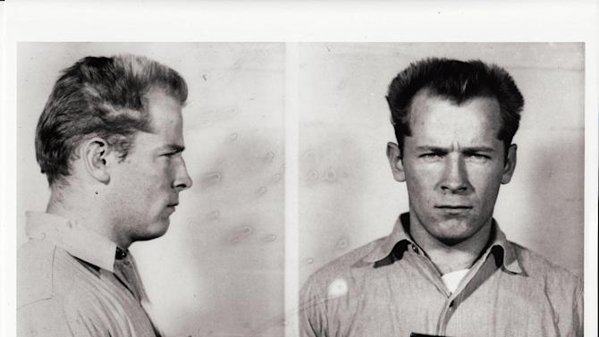 """This photo provided by the Sundance Institute shows James Whitey Bulger in a prisoner transfer photo from the U.S. Penitentiary at Alcatraz, in San Francisco, included in the documentary film, """"Whitey: United States of America v. James J. Bulger."""" In the film, Bulger tells his defense attorney that he was never an FBI informant, but rather had federal agents on his payroll. The documentary directed by Joe Berlinger has its premiere at the 2014 Sundance Film Festival. (AP Photo/Sundance Institute, David Boeri Archives)"""