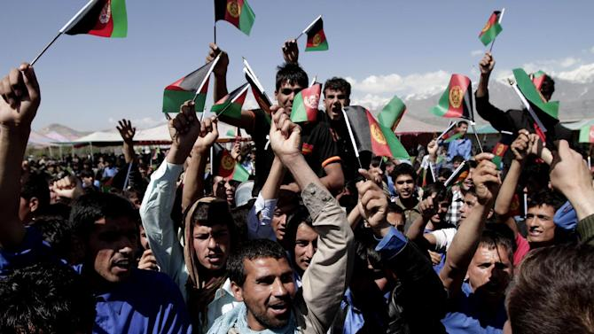 Afghans chant slogans against Pakistan during a demonstration in Kochkin area on the outskirts of Kabul, Afghanistan, Monday, May 6, 2013. Afghanistan says it has lodged an official protest with Pakistan after its forces allegedly came under fire along a contested stretch of their border. The Foreign Ministry says the incident along the eastern frontier took place early Monday at the same location where a firefight between Afghan and Pakistani forces killed an Afghan border policeman and wounded two Pakistani soldiers last week. (AP Photo/Rahmat Gul)