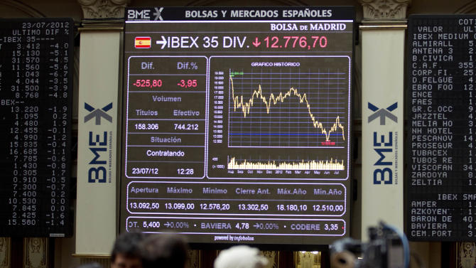 Journalists work at the Stock Exchange in Madrid Monday July 23, 2012. The Bank of Spain says the country's recession-plagued economy contracted 0.4 percent in the second quarter, a performance even worse than in the first three months of the year.The central bank blamed a big drop in domestic demand: minus 1.2 percent compared to minus 0.5 percent in the first quarter as household and government spending fell at a faster pace. It stressed that these figures were preliminary. (AP Photo/Paul White)