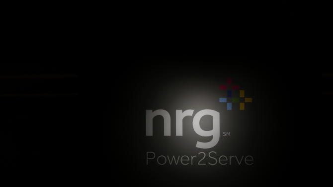 A detail view of NRG Power2Serve signage is seen at the unveiling of the NRG Power2Serve disaster relief vehicle at Reliant Center on Tuesday June 18, 2013 in Houston, Texas. (Aaron M. Sprecher/AP Images for NRG)