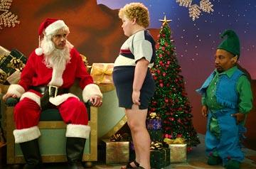 Billy Bob Thornton , Brett Kelly and Tony Cox in Miramax's Bad Santa