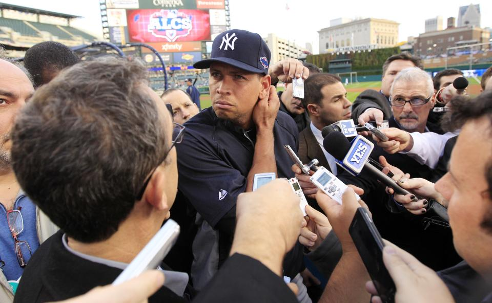 New York Yankees' Alex Rodriguez listens to a question from the media before Game 4 of the American League championship series against the Detroit Tigers  Wednesday, Oct. 17, 2012, in Detroit. (AP Photo/Carlos Osorio)