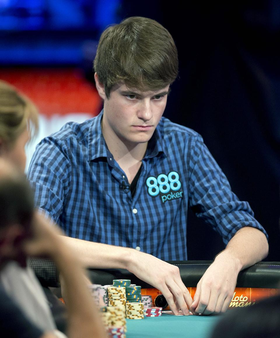 Jake Balsiger of Tempe, Ariz. watches play from opponents during the World Series of Poker Final Table event, Monday, Oct. 29, 2012, in Las Vegas. (AP Photo/Julie Jacobson)