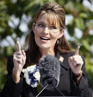 AP Photo/Al Grillo: Sarah Palin during her resignation speech as governor in July in Fairbanks, Alaska.