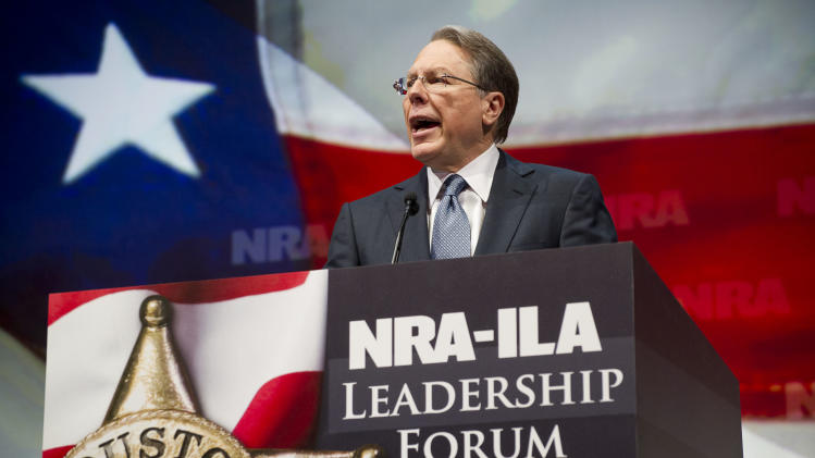 NRA Executive Vice President and Chief Executive Officer Wayne LaPierre speaks during the leadership forum at the National Rifle Association's annual meeting Friday, May 3, 2013 in Houston. (AP Photo/Steve Ueckert)