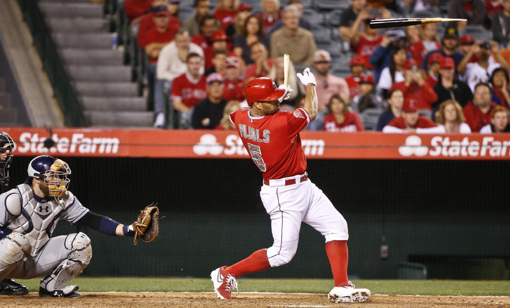 Pujols' RBI single in 9th gives Angels 4-3 win over Padres