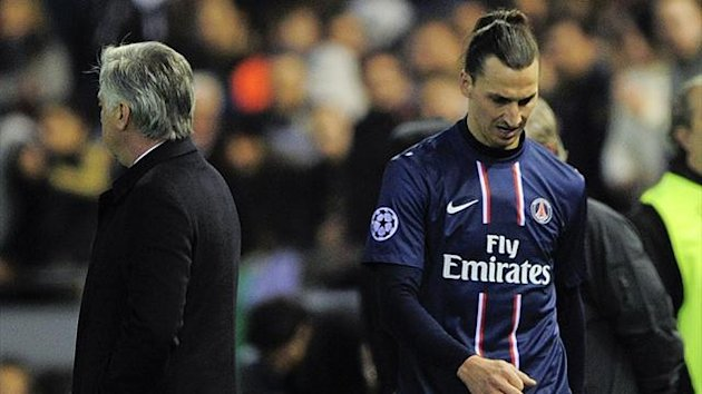 PSG forward Zlatan Ibrahimovic leaves the pitch after being sent off during the Champions League match against Valencia (AFP)