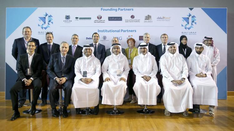 Representatives of partner organisations attend the launch of the Josoor Institute at the official opening ceremony of the Doha GOALS forum in Doha
