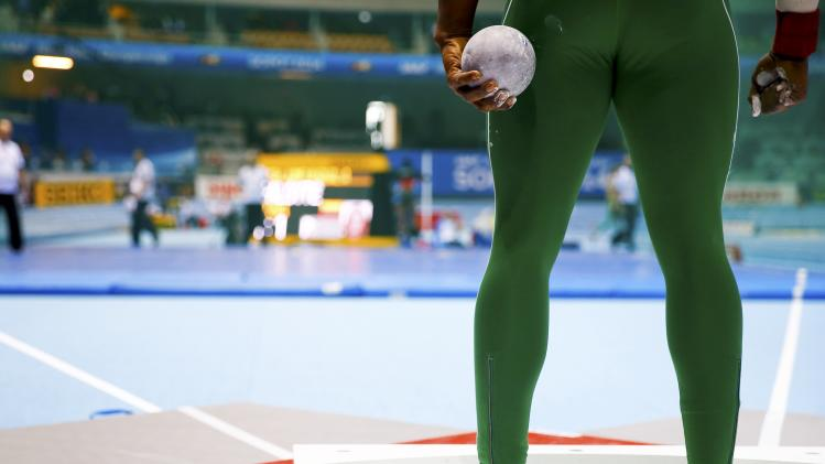 Mozia of Nigeria stands during the men's Shot Put qualification event at the world indoor athletics championships at the ERGO Arena in Sopot