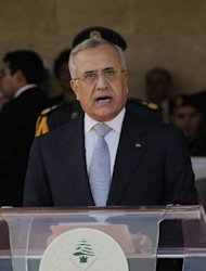 "Lebanese President Michel Sleiman gives a speech during the graduation of Lebanese army officers at the military accademy in Fayadiye, east of Beirut, on August 1. Sleiman ""has begun consultations with the leading figures of the country, in the context of the national dialogue, to discuss the possibility of forming a new government,"" an official said"