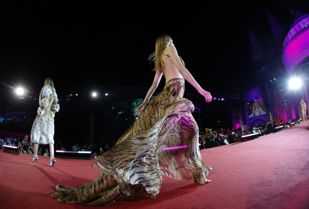 A model presents a creation of Italian fashion designer Cavalli during the opening ceremony of the 21st Life Ball in Vienna