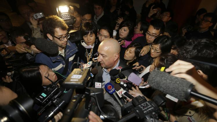 Malaysia Airlines Commercial Director Hugh Dunleavy speaks to journalists about information of Malaysia Airlines flight MH370, at a hotel in Beijing