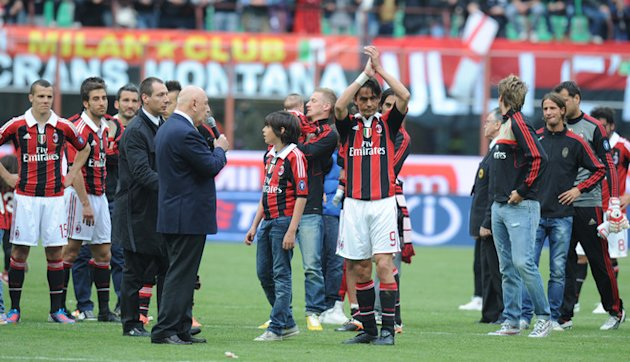 AC Milan's Filippo Inzaghi (C) Celebrates AFP/Getty Images