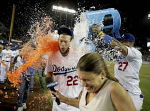 Kershaw got a wet congratulations from teammates after his no-hitter. (AP)