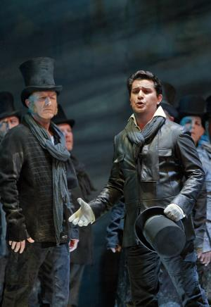 """This Sept. 2012 image released by the San Francisco Opera shows  Albanian tenor Saimir Pirgu, right, during a performance of """"I Capuleti e i Montecchi,"""" in San Francisco.  (AP Photo/San Francisco Opera, Cory Weaver)"""