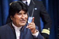 Bolivia&#39;s President Evo Morales speaks to the media after the 64th plenary meeting of the General Assembly 67th session marking the global launch of the International Year of Quinoa at UN headquarters in New York, February 20, 2013. REUTERS/Eduardo Munoz