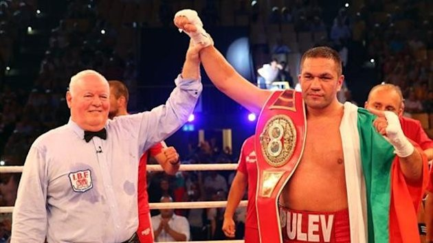 Kubrat Pulev of Bulgaria celebrates after winning the IBF International heavyweight fight at Sport und Kongresshalle on August 24, 2013 in Schwerin, Germany. (Photo by Martin Rose/Bongarts/Getty Images)