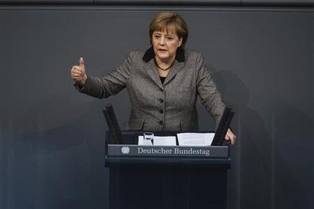 German Chancellor Angela Merkel delivers a policy statement about her government&#39;s EU policy during a session of the Bundestag, the lower house of parliament in Berlin February 21, 2013. REUTERS/Thomas Peter