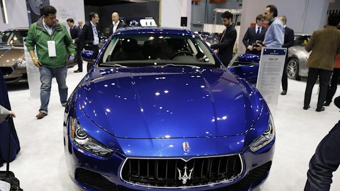 FILE - In this Feb. 6, 2014 file photo, Maserati Ghibli S Q4 is displayed during the media preview of the Chicago Auto Show at McCormick Place in Chicago. (AP photo/Nam Y. Huh, File)