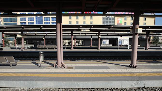 The empty railway station in the port of Piraeus, near Athens, is seen during a 24-hour strike Thursday, Jan. 31, 2013. The government has imposed waves of spending cuts and tax hikes, leading to severe salary and pension cuts and leaving unemployment spiraling to above 26 percent. Workers have been protesting planned reforms to the pension and income contribution system, part of the latest spending cuts in the bailout program. (AP Photo/Thanassis Stavrakis)