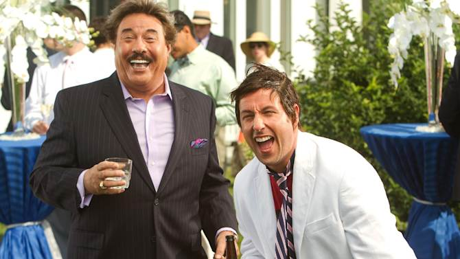 "FILE - This undated publicity film image released by Columbia Pictures - Sony shows Tony Orlando, left, and, Adam Sandler, in a scene from ""That's My Boy."" ""The Twilight Saga: Breaking Dawn - Part 2"" led the Razzies lineup Wednesday, Jan. 9, 2013, with 11 nominations. Other worst-picture nominees are the naval action tale ""Battleship,"" the family flick ""The Oogieloves in the Big Balloon Adventure,"" Adam Sandler's comedy dud ""That's My Boy"" and Eddie Murphy's fantasy flop ""A Thousand Words."" (AP Photo/Columbia Pictures - Sony, Tracy Bennett, File)"