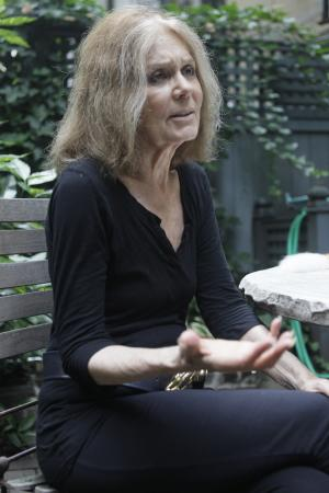 "In this Aug. 9 2011 photo, Gloria Steinem speaks during an interview with The Associated Press, in New York. Four decades after she helped found the women's movement, the feminist icon is in a reflective mode, writing a memoir and participating in an HBO documentary on her life. ""Gloria: In Her Own Words"" premieres Monday, Aug. 15, 2011, on HBO. (AP Photo/Mary Altaffer)"