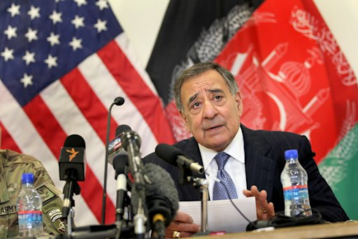 Defense Secretary Leon Panetta speaks during a news conference at the Kabul, Afghanistan airport, Thursday, March 15, 2012, before departing for the United Arab Emirates. Panetta visited with troops and met with President Hamid Karzai and other Afghan officials during his two-day visit to the country.