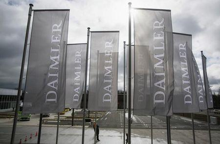 Daimler flags are seen at the annual shareholder meeting in Berlin