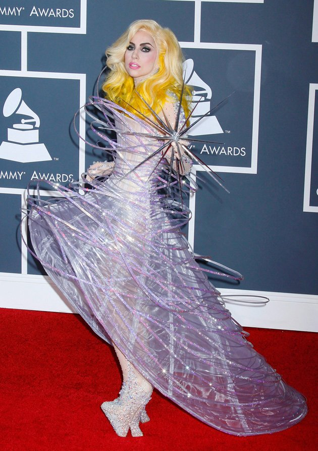 GaGa wore a wide skirted outfit …