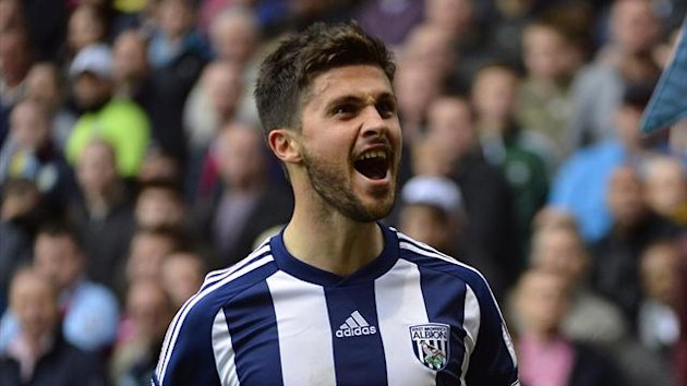 West Bromwich Albion&#39;s Shane Long celebrates scoring against Aston Villa during their English Premier League match at Villa Park in Birmingham September 30, 2012