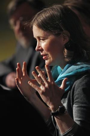 "Award-winning author Ann Patchett speaks during a news conference at the Lyric Opera of Chicago Tuesday, Feb. 28, 2012, in Chicago. The Lyric announced it will premiere ""Bel Canto"" in 2015, based on Patchett's novel of the same name inspired by a hostage crisis in Peru. (AP Photo/M. Spencer Green)"