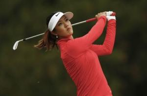 Wie of the U.S. tees off on the third tee during the final round of the Manulife Financial LPGA Classic women's golf tournament at the Grey Silo course in Waterloo