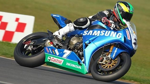 BRITISH SUPERBIKE Michael Laverty tests the new Samsung Honda bike at Snetterton on March 23