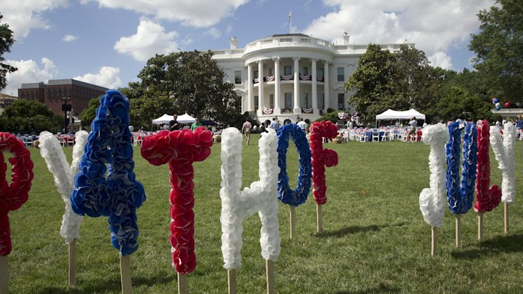 The White House is adorned in preparation for the a Fourth of July celebration on the South Lawn of the White House in Washington, Thursday, July 4, 2013, hosted by President Barack Obama and first lady Michelle Obama. (AP Photo/Manuel Balce Ceneta)