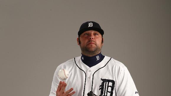 This is a 2015 photo of Joba Chamberlain of the Detroit Tigers baseball team. This image reflects the Tigers active roster as of Feb. 28, 2015 when this image was taken at spring training in Lakeland, Fla. (AP Photo/Gene J. Puskar)