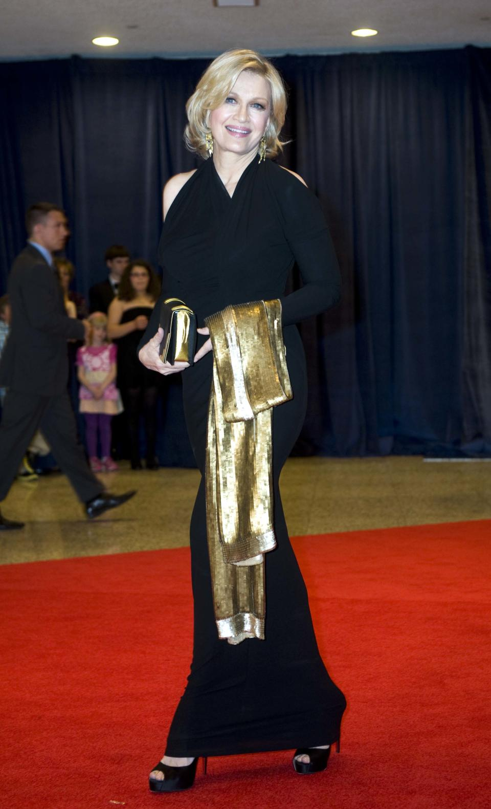 News anchor Diane Sawyer arrives at the White House Correspondents' Association Dinner on Saturday, April 28, 2012, in Washington. (AP Photo/Kevin Wolf)