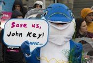 Campaigners dressed as dolphins urge the New Zealand Prime Minister to protect the critically endangered Maui's dolphin, in front of Parliament House in Wellington on May 2, 2012. A scientific body urged Mexico and New Zealand to take immediate action to prevent the extinction of small marine mammals that are being killed by gillnets set by the fishing industry