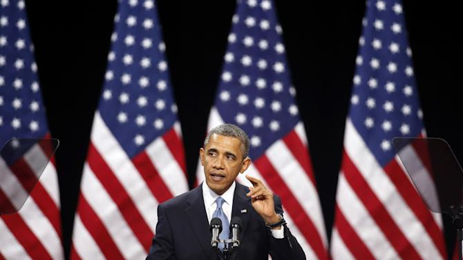 "In this Jan. 29, 2013, file photo, President Barack Obama speaks about immigration reform Tuesday, Jan. 29, 2013, at Del Sol High School in Las Vegas. The immigration debate is threatening to split the Republican Party, pitting those who focus mainly on presidential elections against those who care mostly about congressional races. Granting illegal residents a path to citizenship, which critics call ""amnesty,"" is deeply unpopular in many House Republicans' districts. However, Obama wants such a pathway. (AP Photo/Isaac Brekken, File)"