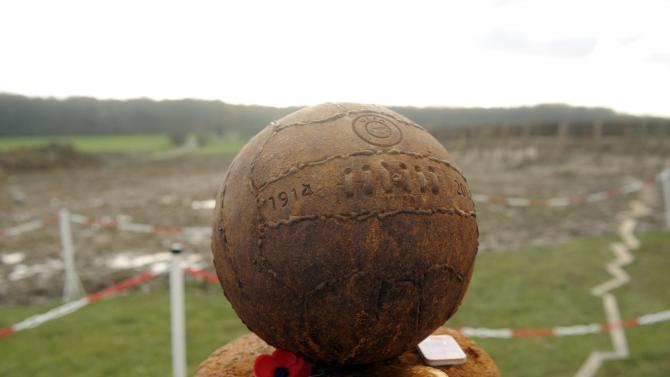 A monument commemorating the centenary of the legendary football match between the German and Allied troops on the Western Front during the Christmas Truce of 1914, is pictured in Saint-Yvon
