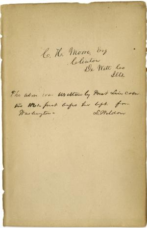 "This undated photo provided by the Abraham Lincoln Presidential Library and Museum in Springfield, Ill., shows what historical experts say is Abraham Lincoln's handwriting they've found inside a tattered book justifying racism that he may have read to better understand his opponents' thinking on slavery. ""Types of Mankind"" was published in 1854 and circulated for decades by the Vespasian Warner Public Library in Clinton. Director Joan Rhoades brought the 700-page book to the Abraham Lincoln Presidential Library and Museum in May to determine whether an inscription inside was made by the former president who worked to free the country's slaves through the Emancipation Proclamation. (AP Photo/Courtesy of the Abraham Lincoln Presidential Library and Museum)"