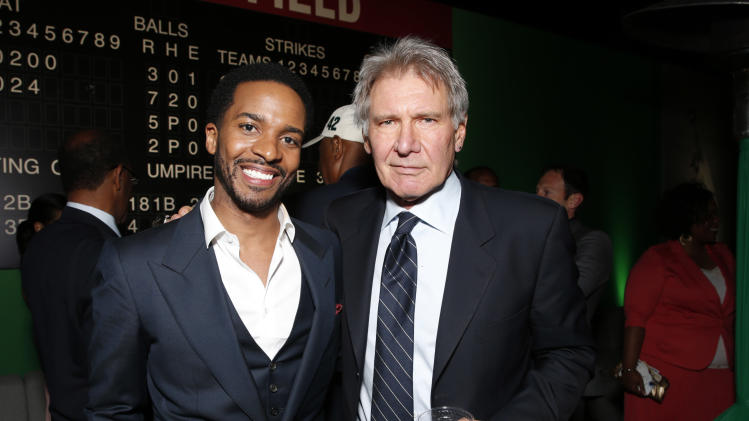 "Andre Holland and Harrison Ford attend the after party for the LA premiere of ""42"" at the TCL Chinese Theater on Tuesday, April 9, 2013 in Los Angeles. (Photo by Todd Williamson /Invision/AP)"