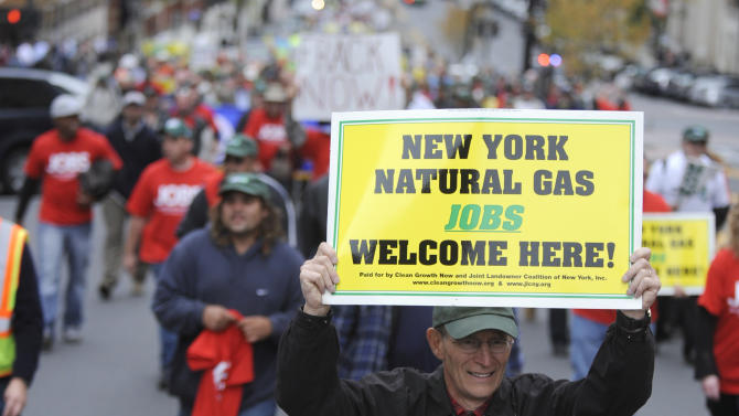 Demonstrators in favor of responsible natural gas drilling in New York march to the Capitol in Albany, N.Y. on Monday, Oct. 15, 2012. (AP Photo/Tim Roske)